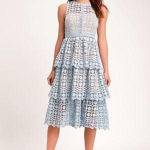 Lulu's Larissa Light Blue Crochet Lace Midi Dress
